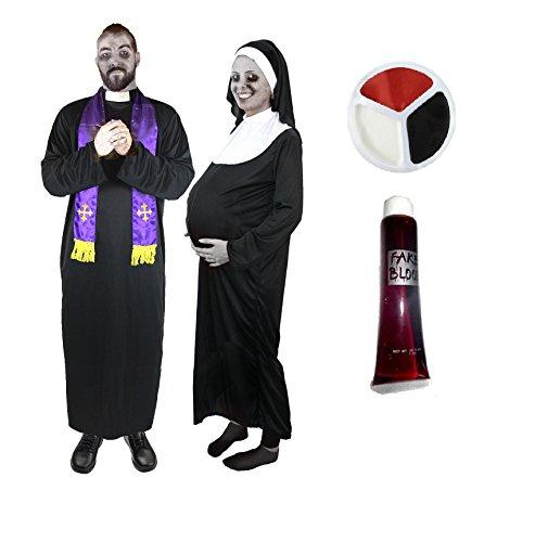 PRIESTER UND SCHWANGERE NONNE ZOMBIE = PAARE VERKLEIDUNG = PERFEKT FÜR JEDE ART VON VERKLEIDUNGS PARTY = KOSTÜM ZUR VERKLEIDUNG ALS BISCHOF-KARDINAL ODER PRIESTER MIT SEINER MUTTER OBERIN = BEIDE (Halloween Kostüme Hades)