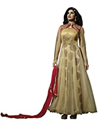 Shoppingover Women's Cotton Dress Material (10007MD_Free Size_Beige)