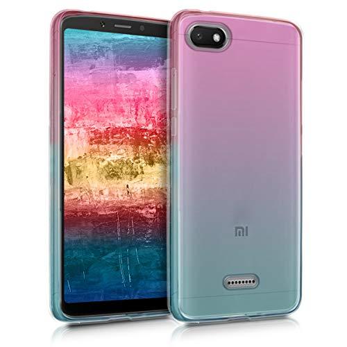kwmobile Funda para Xiaomi Redmi 6A - Carcasa para móvil de TPU con diseño Bicolor - Rosa Fucsia/Azul/Transparente