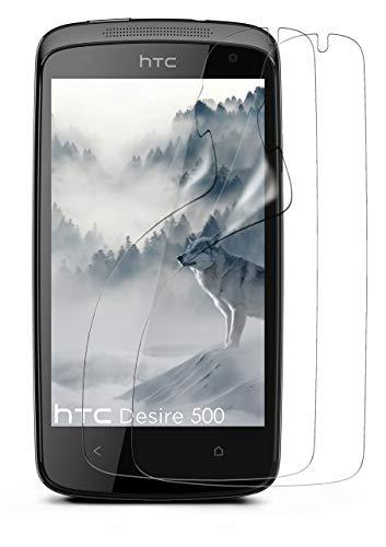moex 2X HTC Desire 500 | Schutzfolie Klar Bildschirm Schutz [Crystal-Clear] Screen Protector Display Handy-Folie Dünn Bildschirmschutz-Folie für HTC Desire 500 Bildschirmfolie