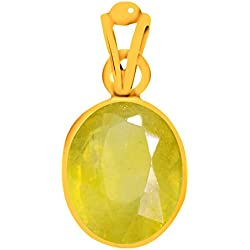 Clara Certified Yellow Sapphire Pukhraj 3 carat or 3.25ratti Panchdhatu Alloy Gold plating Astrological Pendant for Men & Women