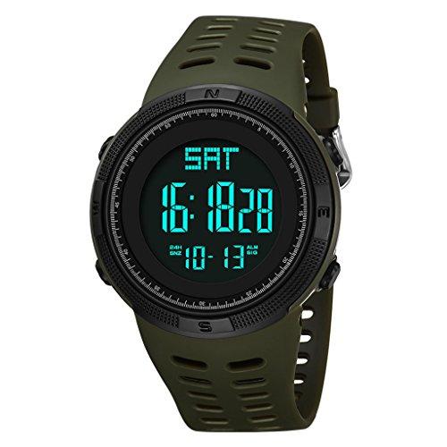 Yxx max Herren Uhren Sale Männer Digital Sportuhr Wasserdichte Outdoor Leuchtende Stoppuhr Elektronische Uhr (Farbe : D)