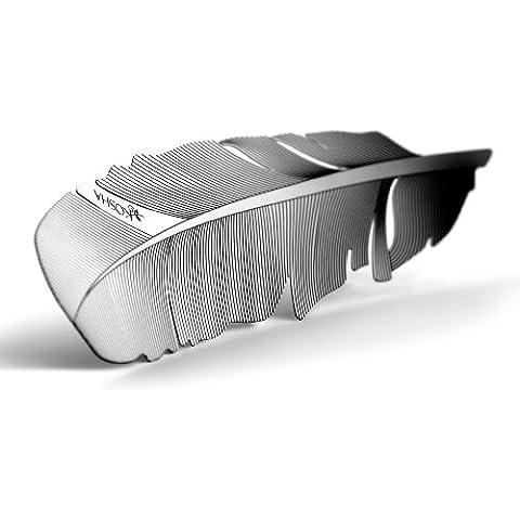 Marcador de páginas, marcapaginás KOSHA en forma de pluma - Acero inoxidable. Disponible con una caja. Idea de regalo. Hecho en Suiza.