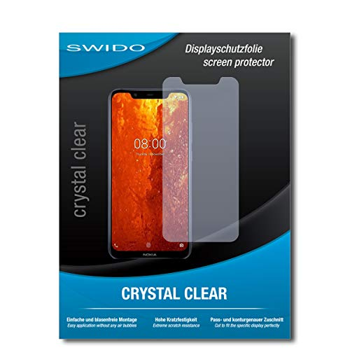SWIDO Schutzfolie für Nokia 8.1 [2 Stück] Kristall-Klar, Hoher Härtegrad, Schutz vor Öl, Staub & Kratzer/Glasfolie, Bildschirmschutz, Bildschirmschutzfolie, Panzerglas-Folie