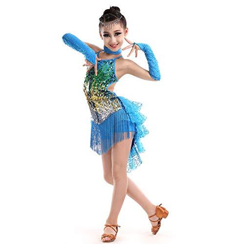 Mädchen Latin Kleid Tanzkleid für Kinder Franse Pailletten Latein Kostüm Salsa Tango Samba Rumba Ballroom Turnierkleid Dancewear (Einzigartige Ideen Für Die Baby-halloween-kostüme)