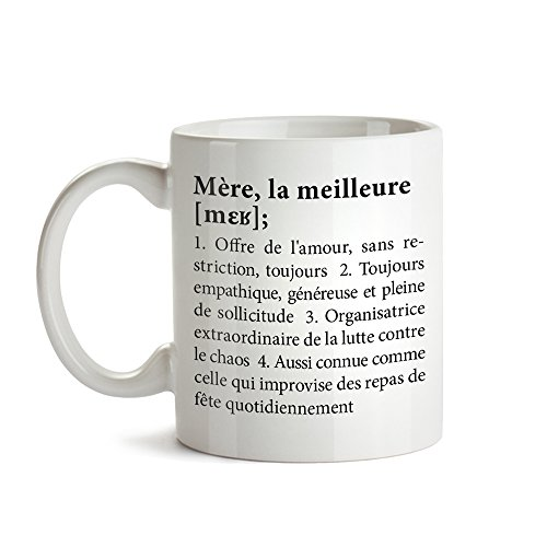 Tasse imprimée - Mug - Définition Meilleure Maman - Standard - Tasse à café Originale Blanche comme Cadeau de Noel ou d'anniversaire - Idée Cadeau pour Maman