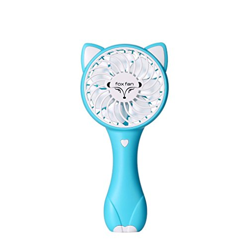 Babysbreath17 Cartton Fox Form 1200mAh Batterie Handportable Mini Operated Adjustable 3 Geschwindigkeiten USB aufladbare Lüfter Blau (3 Gang Gebläse Motor)