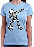 HARIZ  Damen T-Shirt Rundhals Dab Skelett mit Fussball Dab Teenager Dance Weihnachten Plus Geschenkarte Himmel Blau S