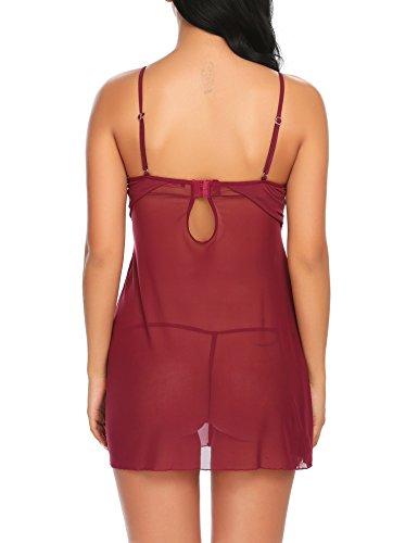 Avidlove Damen Sexy Negligee Babydoll Nachtwäsche Nachtkleid Nachthemd Kleid Lingerie Dessous Set mit Wickeloptik, Größe EU XXL, Farbe E-Violett - 6