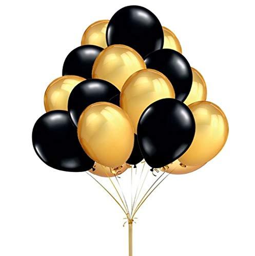 Tumao 100 Stück schwarz-Gold-metallic-Luft-Ballons,12 Zoll Runde Latex Ballons,für Party,Hochzeits Luftballons Party Valentinstag Dekorationen. (Ballons Schwarz Und Gold)