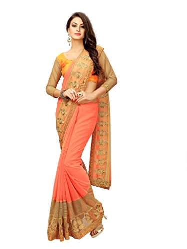 Elevate Women Embroidered Bollywood Georgette, Net Saree (Orange)