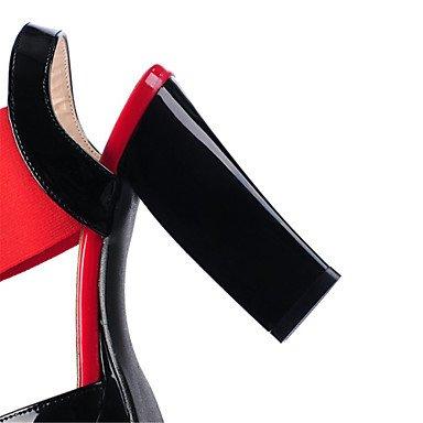 LvYuan Damen-Sandalen-Kleid Lässig-Lackleder Stoff-Blockabsatz-Neuheit Club-Schuhe-Blau Rot Mandelfarben almond