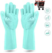 Cartshopper Dishwashing Gloves with Wash Scrubber + Magic Silicone Gloves + Heat Resistant + Reusable Cleaning