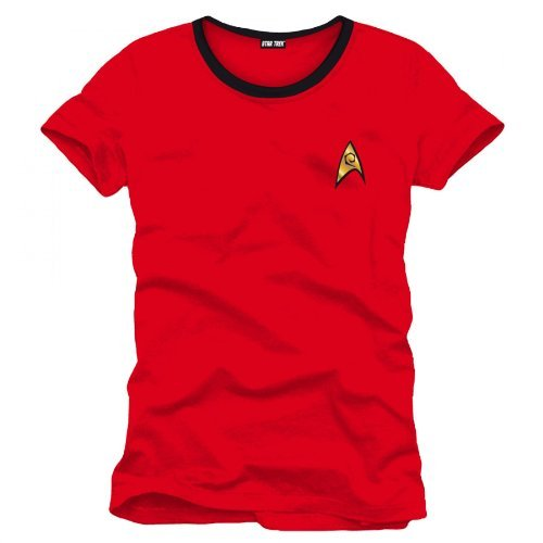 Star Trek Scotty Uniform T-Shirt Raumschiff Trekkie Kostüm Convention Baumw rot Kult mit Emblem - ()