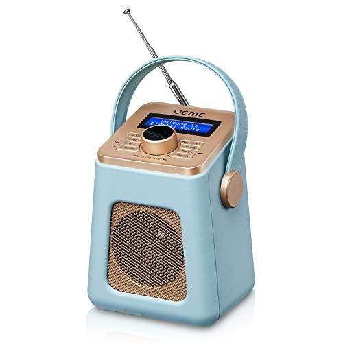 UEME Mini DAB+ DAB Digitalradio und UKW Radio mit Bluetooth Lautsprecher, Radiowecker, und Leder Verkleiden (Blau)
