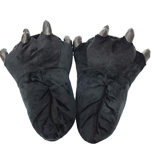 Minetom Unisexe Hiver Anime Halloween Cosplay Adulte Pyjama Onesie Cospaly Party Fleece Costume Tenue Chaussons Doux Chaussures Pour Adultes Patte Peluche Pantoufles Noir gris