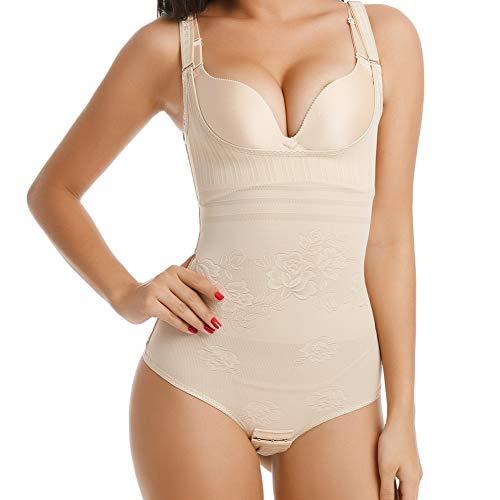 Wirezoll Damen Shapewear, Figurformender Body Bauch Weg Bodysuit mit Haken, Beige, M