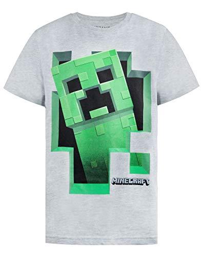Minecraft Jungen T-Shirt (Grau, 7-8 Jahre) (Minecraft Kinder T-shirts)