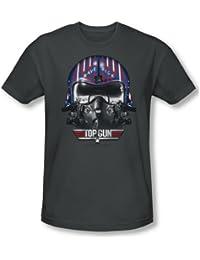 Top Gun - Herren Maverick Helmet T-Shirt in der Holzkohle