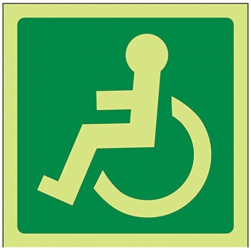 vsafety Konferenzmappe mit af-g Fire Exit Schild, Rad Stuhl Logo links orientiert, aus Kunststoff, quadratisch, 100mm x 100mm, grün