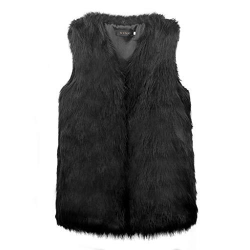 Giacca pelliccia donna fashion eleganti pelliccia sintetica gilet smanicato v-neck giovane slim fit casuali accogliente calda invernali gilet di pelliccia cappotto puro colore women