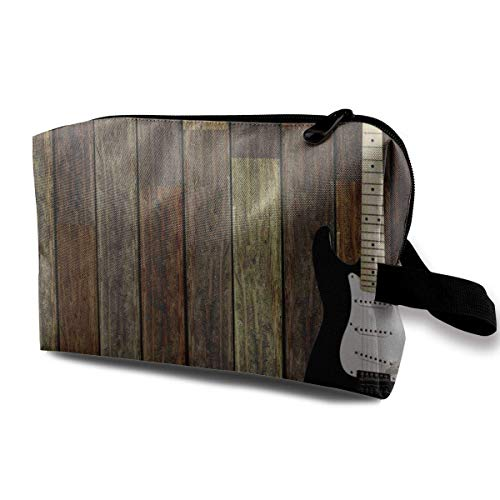 Travel Hanging Cosmetic Bags Electric Guitar Wooden Wall Multi-functional Toiletry Makeup Organizer - Tan Satteltasche