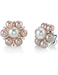 4mm Pink Freshwater Cultured Pearl Cluster Earrings