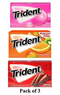 Trident Gum 14 Sticks Chewing Gum Tropical Twist + Bubble Gum + Cinnamon Flavor Imported Chewing Gum - Pack of 3 - Shipping Free