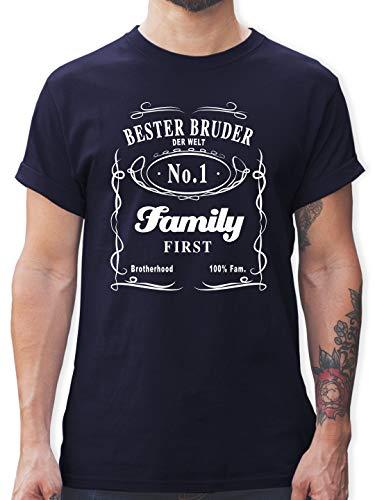 Bruder & Onkel - Bester Bruder Lettering - L - Navy Blau - L190 - Herren T-Shirt und Männer Tshirt -