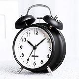 BestCool väckarklocka med två klockor, gammaldags nattduksbord väckarklocka med bakgrundsbelysning tickar ej skrivbordsklocka