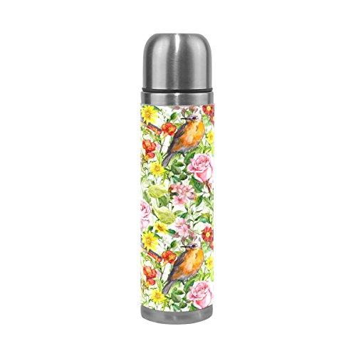 COOSUN Aquarell Blumen Wiese Gras Vögel Edelstahl Flaschen Wasserflasche Vakuum-Thermobecher Leak Proof Doppelvakuumflasche, PU-Leder-Reise-Thermal-Becher, 17 Unzen 17 Unzen Mehrfarben