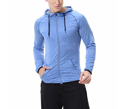Neu Plain Männer Fleece Zip Up Kapuzenjacke Jacke Sweatshirt Kapuzen-Reißverschluss Top Blau S (Plain Farbstoff)