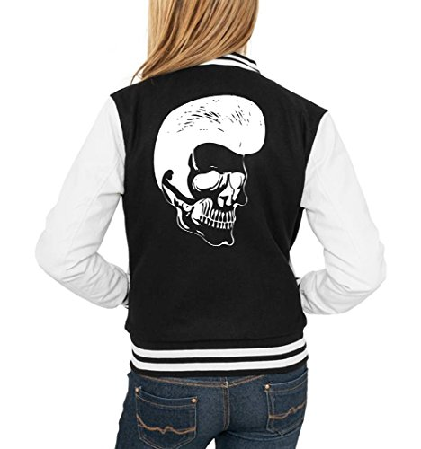 Rockabilly Skull College Vest Girls Black Certified Freak-S (S 1960 Jacke Damen)