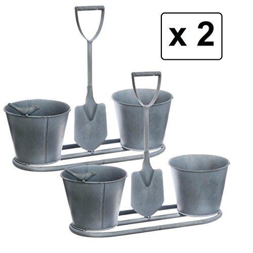 Set di 2 fioriere originali - stile ferro battuto - colore: grigio patinato di bianco