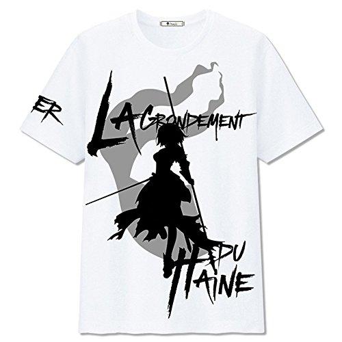 (Sommer T-Shirt Weiß Baumwolle Hemd Spiel Cosplay Kostüm Top Kleidung für Herren Damen Verrücktes Kleid (L))