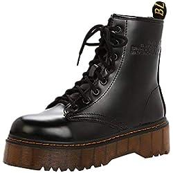 Rawdah Botas Mujer Invierno Botas de Mujer Zapatos Retro de Las Mujeres Botas de algodón con Cordones Antideslizantes tacón Grueso Knight Martin Boots Zapatos Mujer Plataforma
