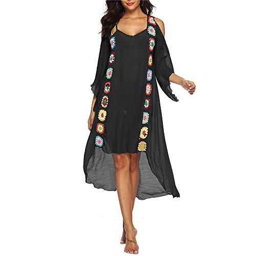 Hnks-SP Bikini-Bluse Frauen Baden Plus Size Badeanzug Perspektive Coverups Kleid Anzug Vertuschungen Kalte Schulter High Low Cotton Crochet Bikini Cover Up Strandkleid -