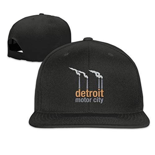 RAINNY Motor City Detroit Unisex Causal Fitted Flat Bill Boarder Hat for Men and Women -