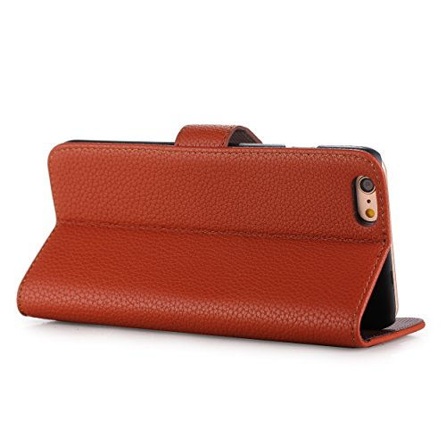 "Liamoo® Flip Case iPhone 6 / 6s (4,7"") Smartphonetasche Tasche Etui Cover Hülle Schutzhülle (KARO HELL) braun"