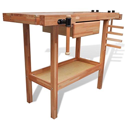Werkbank für Zimmereiarbeiten, aus Hartholz, mit Schublade und zwei Klemmböcken - 2