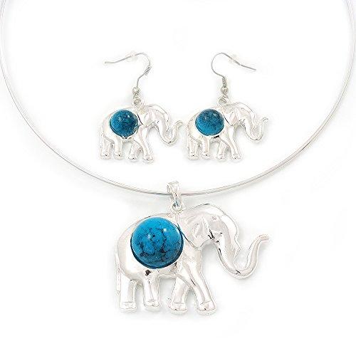 Bañado en Plata Cable de Flex 'Elefante' Collar con Colgante y Juego de Pendientes de Gota con Piedra Turquesa-Ajustable