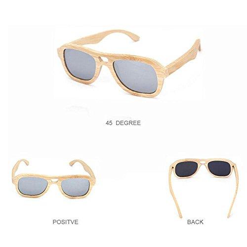 Z&YQ Sonnenbrille Wooden Frame Bambus Unisex UV Sonnenbrille Eyewear Poralisierte Spiegellinse , c5