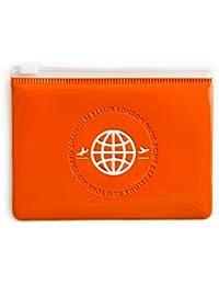 Cierre de pequeñas funda (12x 9cm) en naranja; de plástico, impermeable; un regalo perfecto para reiselustige en 1a Calidad.