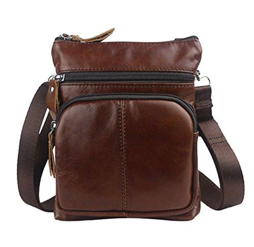 Yuncai Herren Schultertaschen Mode Exquisit Umhängetasche Einstellbar Leinwand Gurt Rot Braun
