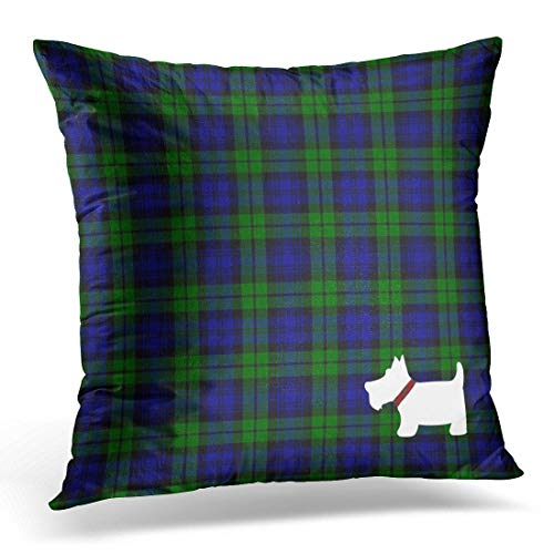 Cupsbags Throw Pillow Cover Scottish Black Watch Tartan Plaid and Scottie Terrier Decorative Pillow Case Home Decor Square 18x18 Inches Pillowcase