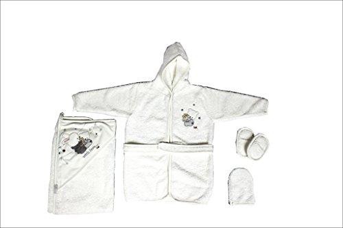 Bademantelset mit Kapuzenhandtuch für Babys und Kleinkinder mit Waschlappen und Puschen/100% Baumwolle (Grau-Hase)