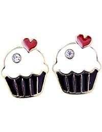 Lizzyoftheflowers Pendentif–Lizzyoftheflowers Pendentif. Style rétro en émail Cupcake/gâteau Boucles d'oreille à tige avec cœur rouge