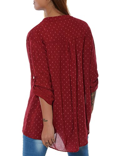 Damen Bluse Casual Hemd Top Oberteil Long-Shirt Tunika 3/4 Arm No 15644 Rot