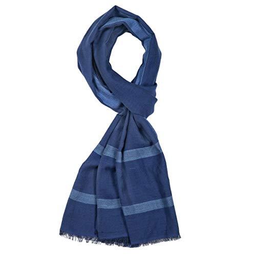 ROYALZ Schal Herren leicht Halstuch klassisch Herrenschal weich dünn Baumwollschal Männer-Schals Accessoires mehrfarbig - ganzjährig tragbar, Farbe:Navy Blau/Hell Blau