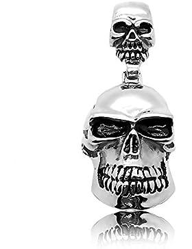 Ketten Anhänger Totenkopf Skull Pirat Biker Silbern Schwarz Königskette Panzerkette Halskette Herrenschmuck Massiv